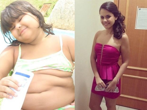 Isabela acima do peso e depois de emagrecer (Foto: Isabela Vilar/Arquivo Pessoal)
