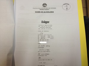 Embriaguez foi comprovada pelo teste do bafômetro (Foto: Marcelo Marques/ G1 RR)