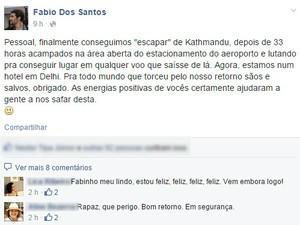 Fábio deu relato pelo Facebook e agradeceu 'energias positivas' (Foto: Reprodução/Facebook)