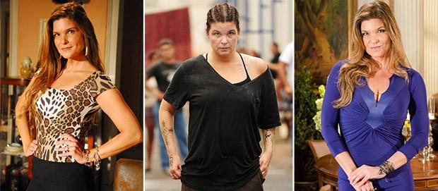 Trs momentos da atriz Cristiana Oliveira: em 2008, na novela Paraso; em 2011, na novela Insensato Corao; e em 2012, em Salve Jorge (Foto: (Foto: Divulgao/TV Globo)
