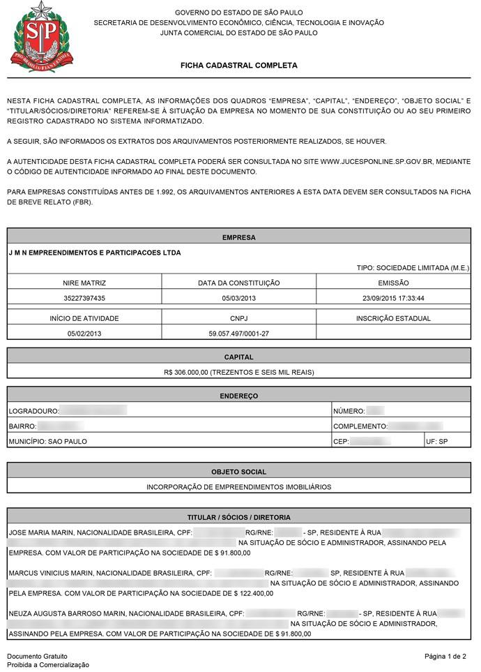 Documento Marin 1 (Foto: Reprodução)