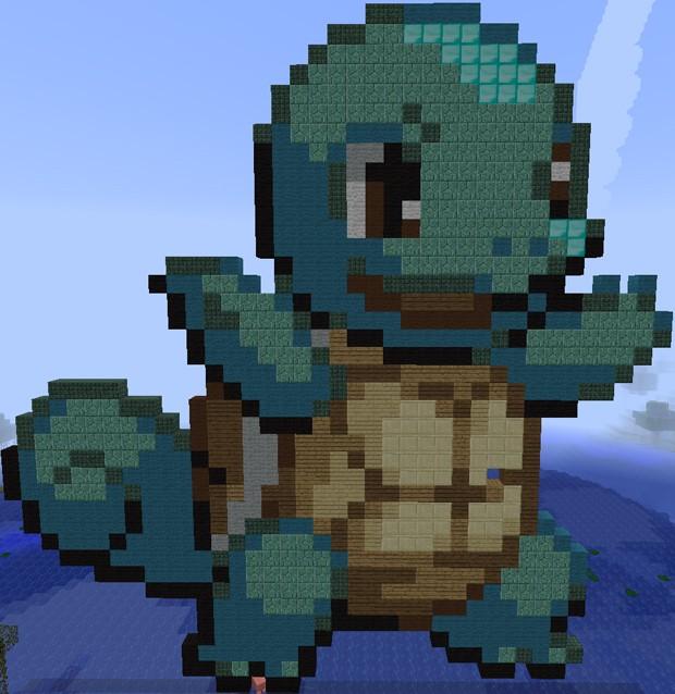 Fã usou vários tipos de materiais para recriar Squirtle em 'Minecraft' (Foto: Divulgação/Imgur/MissMercury)