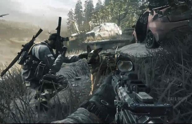 """Imagem da equipe de soldados, integrada pelo cão Riley, personagem crucial do novo game """"Call of Duty: Ghosts"""". (Foto: Reprodução)"""