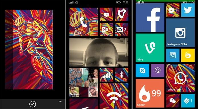Live Tiles podem ser personalizadas com fotos no Windows Phone 8.1, mas nem todos os apps aceitam os recursos (Foto: Reprodução/Elson de Souza)