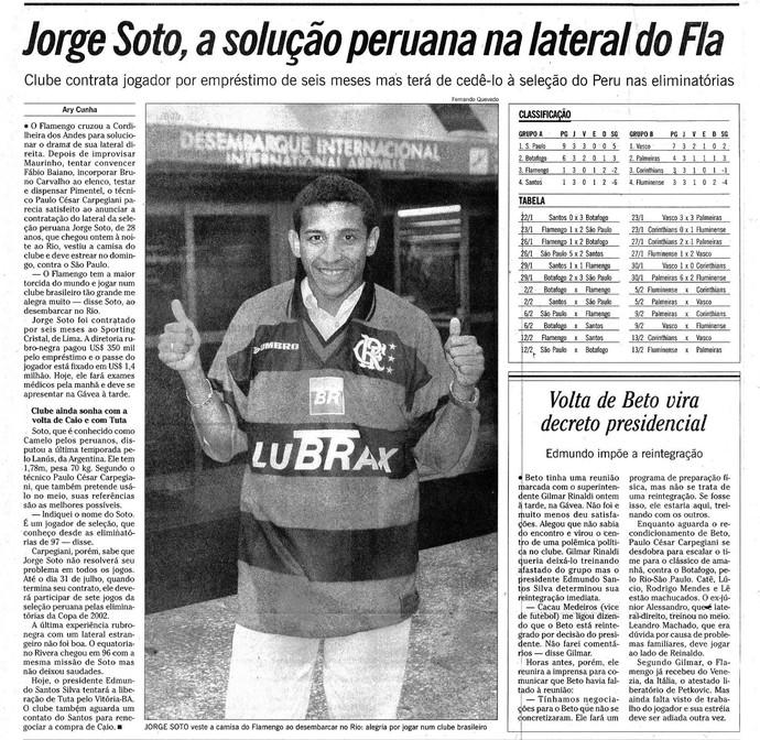 Jorge Soto, peruano ex-jogador do Flamengo em 2000 (Foto: Reprodução / O Globo)