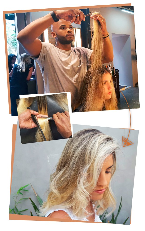 Paulinha em ação no cabelo Aline! (Foto: Eduardo Garcia)