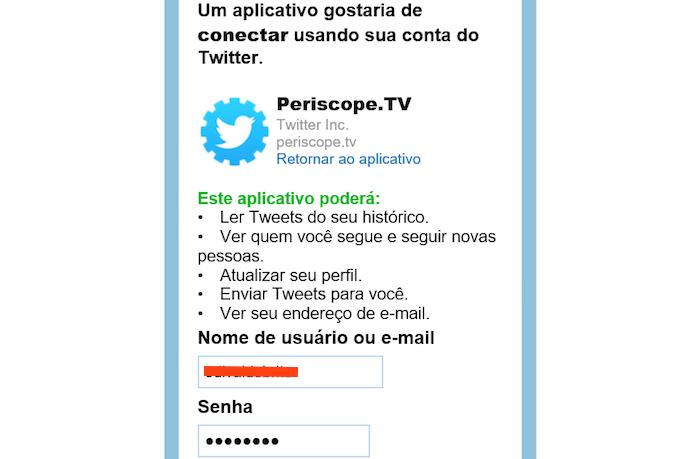 Autorizando o app na conta Twitter (Foto: Reprodução/Edivaldo Brito)