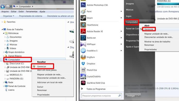"""Acesse o Gerenciamento do computador através da opção """"Gerenciar"""" pelo Windows Explorer ou pelo botão """"Iniciar"""" (Foto: Reprodução/Daniel Ribeiro)"""