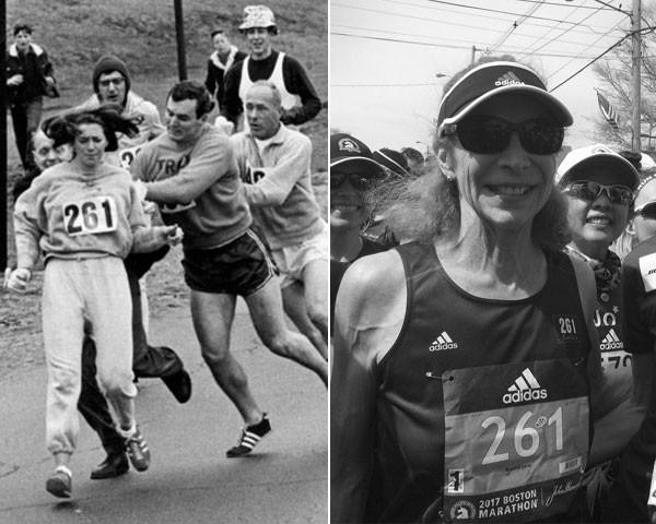 Katherine Switzer em 1967 e, agora, em 2017 (Foto: Getty Images/Reprodução Twitter)