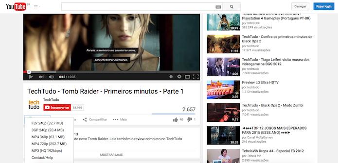 Plugin funciona contextualizado a página do YouTube (Reprodução)