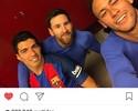 """Neymar posta com Messi e Suárez e provoca jornal: """"(M)uito Pouco(S) (N)ada"""""""