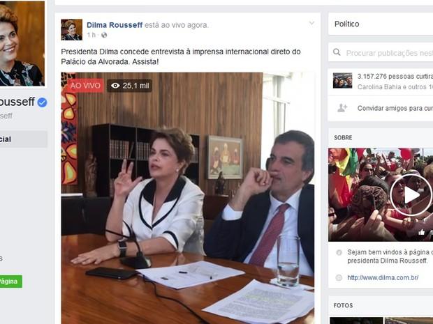 320c989a0d Dilma concede entrevista a jornalistas de veículos estrangeiros no Palácio  da Alvorada (Foto: Reprodução
