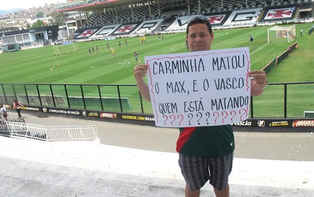 Torcedor protesto, Vasco  (Foto: André Casado / Globoesporte.com)