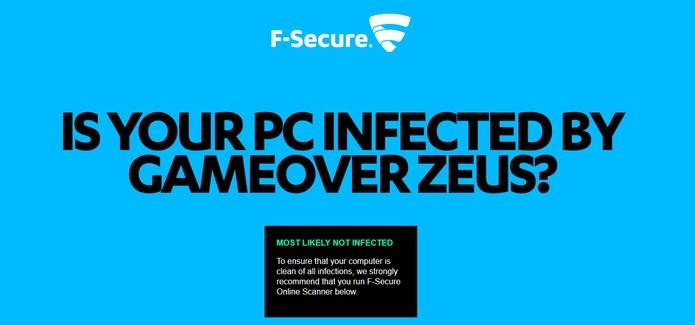 Mensagem diagnostica que computador não está infectado (Foto: Reprodução/F-Secure)