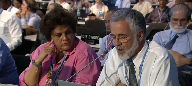 A ministra do Meio Ambiente, Izabella Teixeira, e o embaixador José Antonio Marcondes, na plenária na COP 20, em Lima (Foto: Reprodução/UNFCCC)