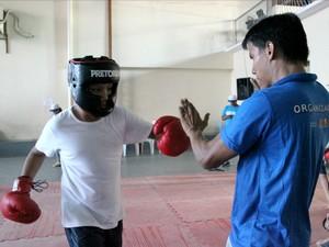 Aula de boxe divertiu público infantil  (Foto: Jamile Alves/G1 AM)