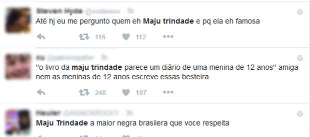 Internautas criticaram Maju Trindade por trecho de novo livro (Foto: Reprodução / Twitter)