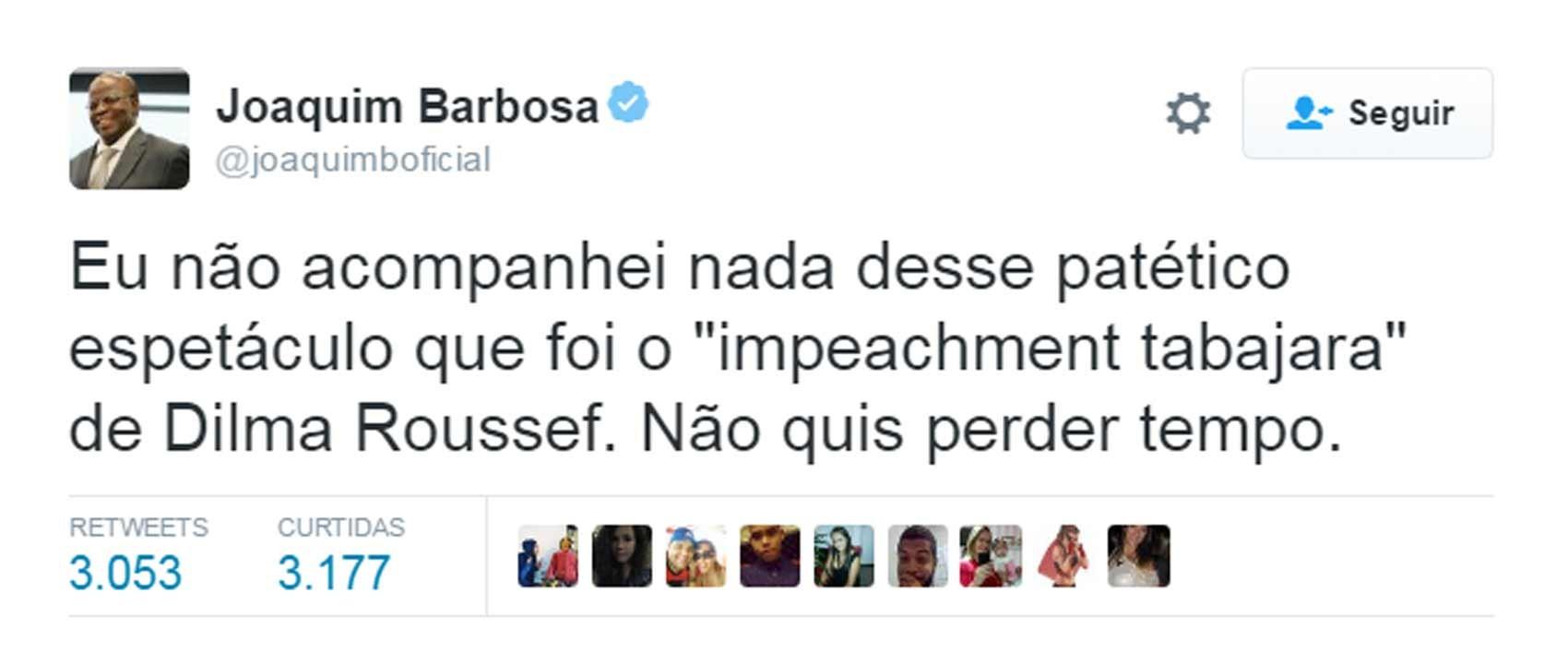 Joaquim Barbosa comentou impeachment no Twitter (Foto: Reprodução/Twitter/joaquimboficial)