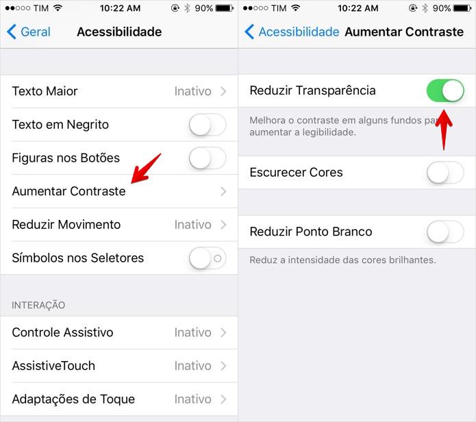 Desativando as transparências do iOS (Foto: Reprodução/Helito Bijora)