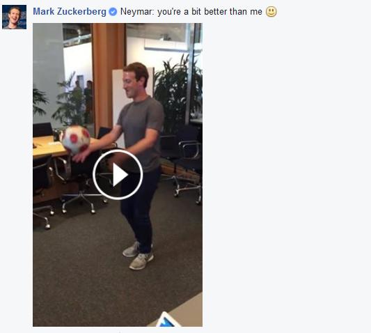 BLOG: Após desafio virtual a Neymar, Mark Zuckerberg vai mal em embaixadinhas