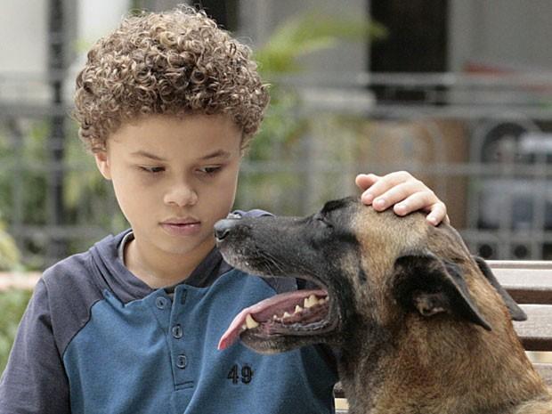 Pedro se encanta com um cachorro de rua e é seguido por ele (Foto: Malhação / TV Globo)