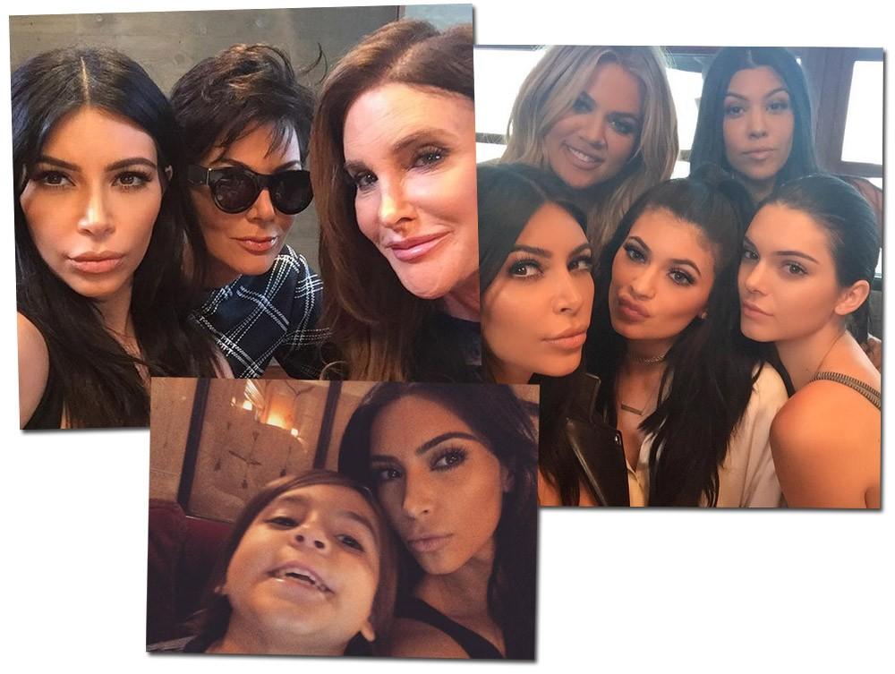 Selfie em família: Kim posa com a mãe e Caitlyn Jenner, o grupo de irmãs e o sobrinho Mason (Foto: Reprodução/Instagram)