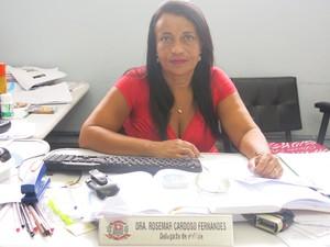 Delegada Rosemar Cardoso, da Delegacia da Mulher de Praia Grande (Foto: Mariane Rossi/G1)