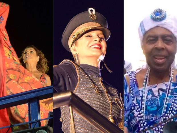 Daniela Mercury, Claudia Leitte e Gilberto Gil tiveram destaque neste domingo (Foto: Arte G1)