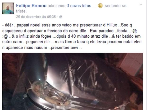 Polícia investiga postagem de vítima em rede social (Foto   Reprodução Facebook) 5d74a515d4