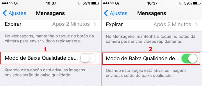 Ativando o modo de baixa qualidade de imagem do iMessage no iOS 10 (Foto: Reprodução/Edivaldo Brito)