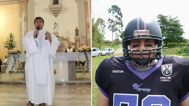 Padre Evandro, de Sorocaba, no futebol americano (Foto: Montagem / GloboEsporte.com)