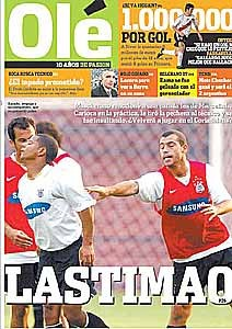 Capa jornal Olé após briga Marcelinho x Mascherano (Foto: Reprodução)