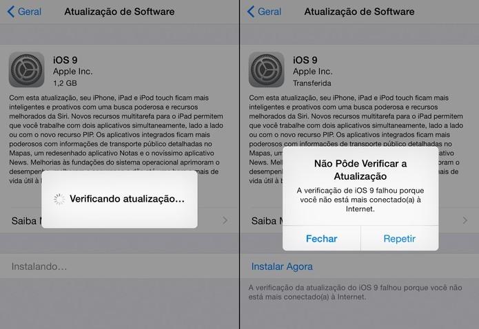 iPhone apresenta mensagem de erro ao atualizar iOS 9 (Foto: Reprodução)