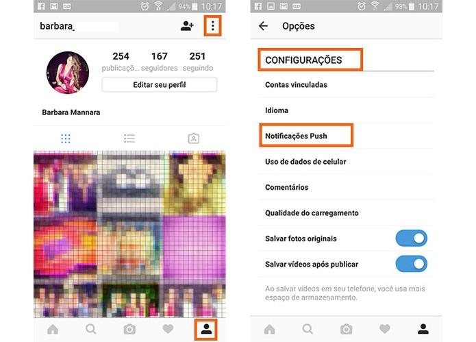 Acesse seu perfil do Instagram e depois as configurações para gerenciar as notificações (Foto: Reprodução/Barbara Mannara)