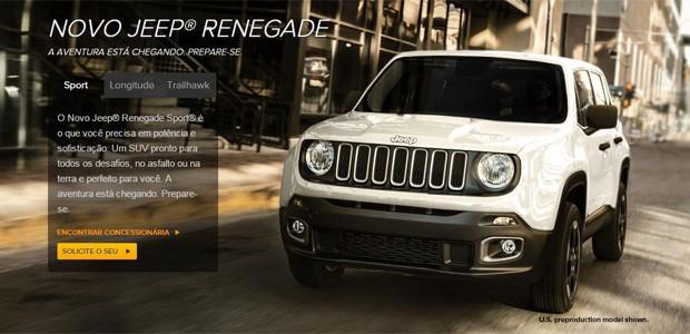 Jeep abre cadastro para o Renegade em seu site oficial (Foto: Reprodução)