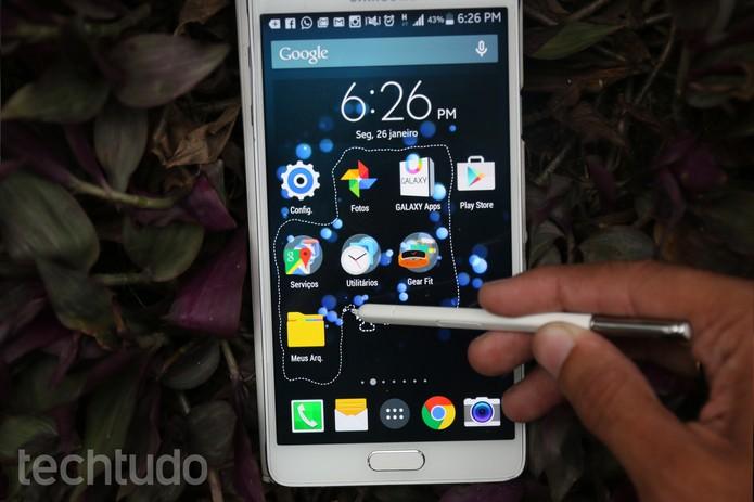 Capturando a tela do Galaxy Note 4 com o recurso Clipe de Imagem da S Pen (Foto: Lucas Mendes/TechTudo)