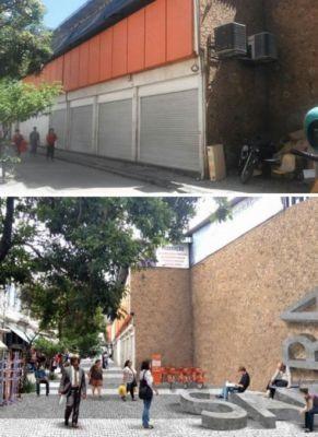 Acima: como está a Av. Tomé de Souza. Abaixo: como estaria se o projeto tivesse sido executado