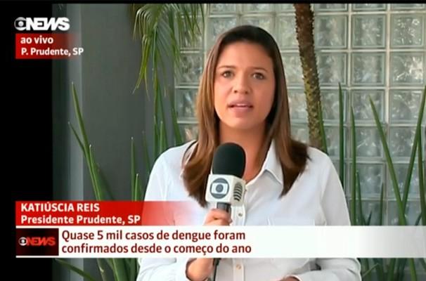 Katiuscia Reis em reportagem para o canal GloboNews (Foto: Reprodução GloboNews)