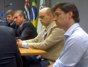 Márcio Della Volpe Álvaro Negrão Jonas Donizette reunião prefeitura Campinas Ponte Preta Guarani (Foto: Divulgação / Ponte Preta)