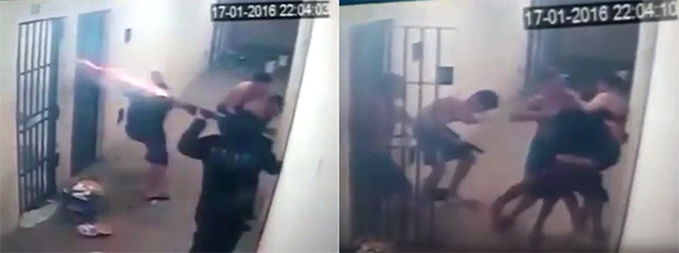 Um dos agentes reage e atira com bala de borracha; em seguida, outro agente é rendido pelos presos, que o usam como escudo humano (Foto: G1/RN)