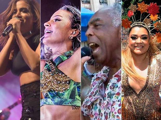 Anitta, Claudia Leitte, Gilberto Gil e Preta são algumas das atrações em Salvador (Foto: Arte G1)