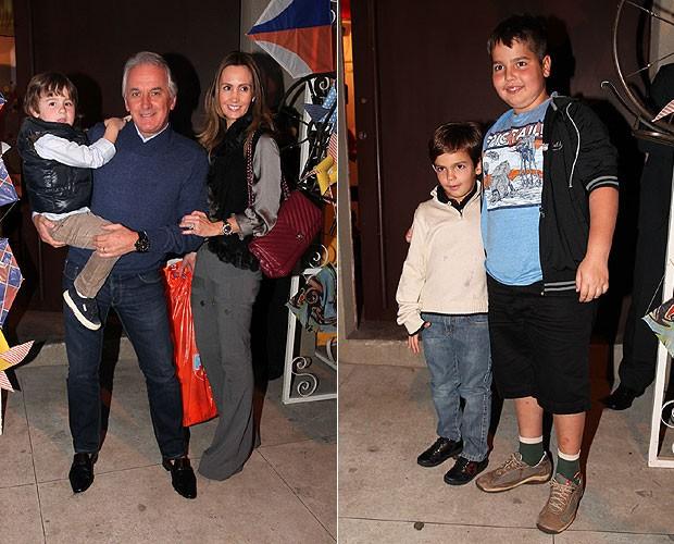 Otávio Mesquita com a mulher e o filho, Pietro (à esquerda) e Filhos de Faustão (à direita) (Foto: Manuela Scarpa e Marcos Ribas/Foto Rio News)