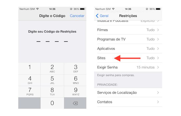 Acessando as restrições de navegação na internet do iOS (Foto: Reprodução/Marvin Costa)