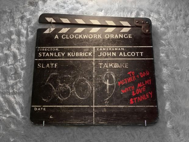 """Claquete utilizada no filme """"Laranja Mecânica"""", um dos filmes mais conhecidos do diretor Stanley Kubrick, e que integra a mostra do MIS (Foto: Divulgação)"""
