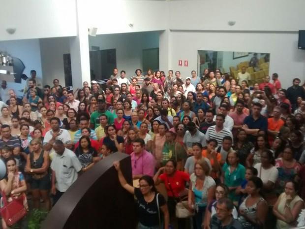 Servidores novamente lotaram a Câmara dos Vereadores de Palmas (Foto: Rodrigo Mota/Sintet/Divulgação)