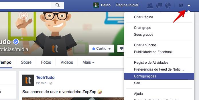 0357d16c5 Acesse as configurações do Facebook (Foto  Reprodução Helito Bijora)