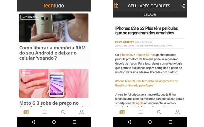 À esquerda, notícias em destaque na home. À direita, artigo aberto (Foto: Reprodução/Raquel Freire)