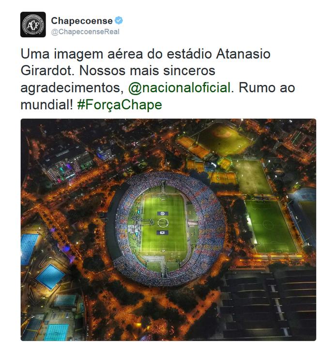 Chapecoense agradece homenagem do Atlético Nacional (Foto: Reprodução)