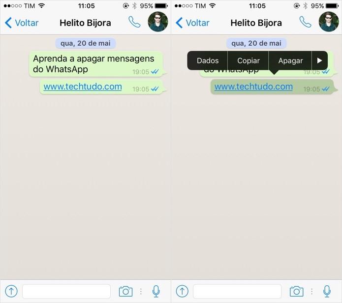 Selecionando mensagens a apagar (Foto: Reprodução/Helito Bijora)