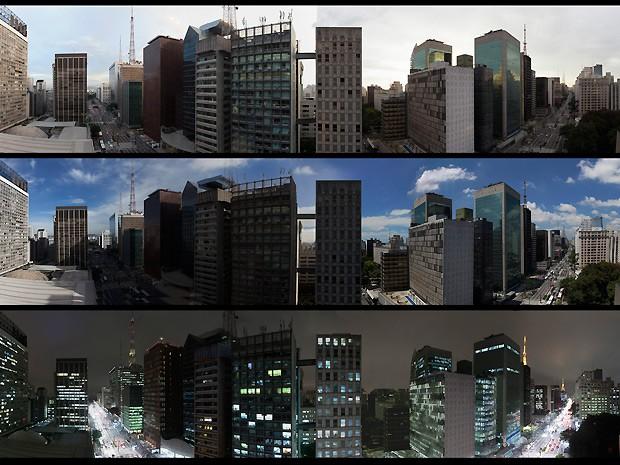 São Paulo e suas matizes: nublada, ensolarada e à noite... (Foto: Amor à Vida / TV Globo)